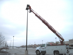 Relamping Exterior Lighting Fixtures in the parking lot